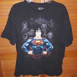 Superman Black T-Shirt Villans in the back
